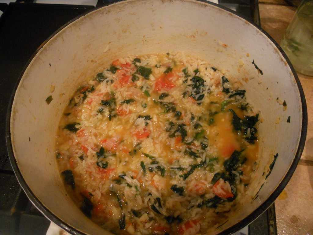 Shrimp and Parmasean Rice with Spinach and Tomatoes