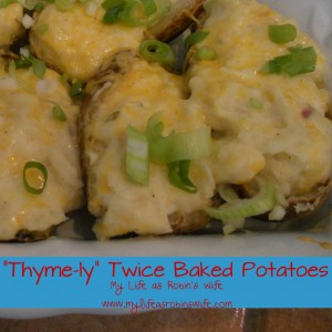 """""""Thyme-ly"""" Twice Baked Potatoes with Garlic and Dijon"""