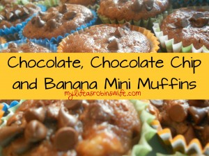 Chocolate, Chocolate Chip and Banana Mini Muffins