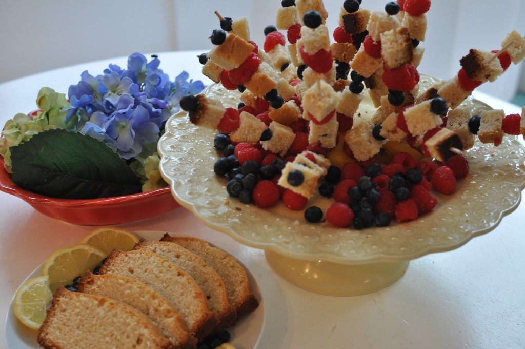 Lemony Pound Cake and Berry Skewers