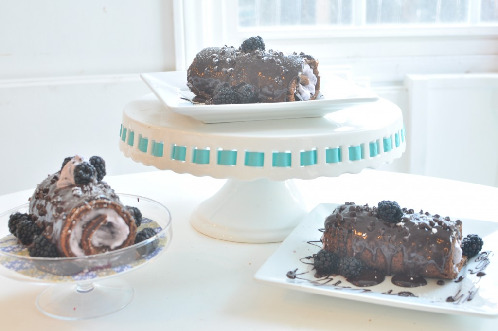 Grandma's Favorite Chocolate Roll Cake with Blackberry Mascarpone Filling on MyLifeAsRobinsWife.com