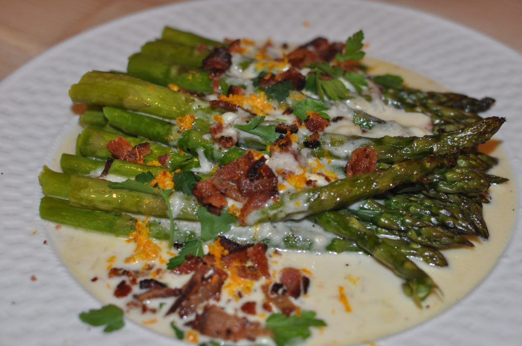 Roasted Asparagus with Brie, Bacon and Shallot Sauce by MyLifeAsRobinsWife.com