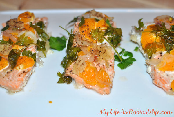 Salmon with Tangerine, Parsley and Shallots by MyLifeAsRobinsWife.com