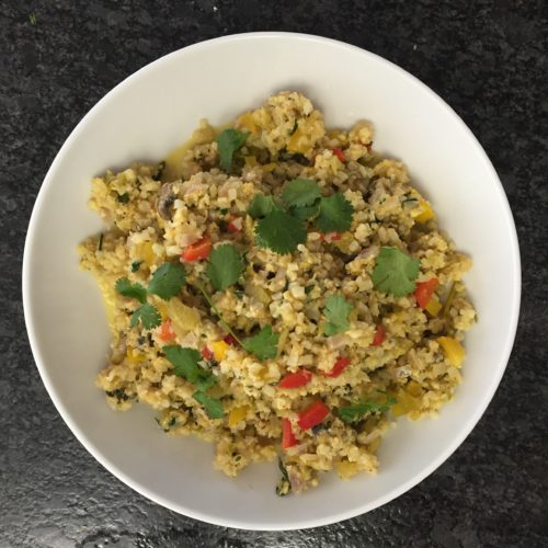 "Cheesy Confetti Cauliflower ""Rice"""