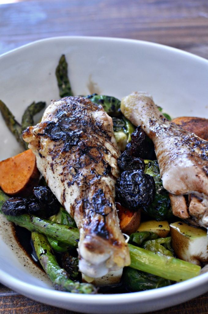 Roast Chicken Legs with Harvest Veggies and Apples