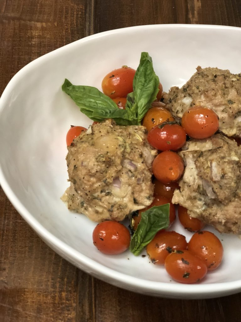 Big Meatballs with Roasted Cherry Tomatoes